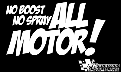 Sticker no boost no spray all motor