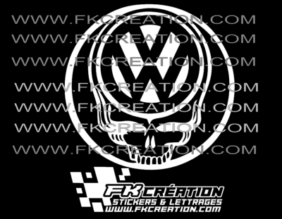 Sticker Skull cercle vw