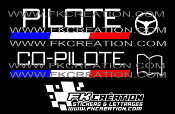 Kit lettrage pilote co-pilote rallye version 3