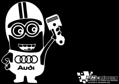 Sticker Minion Audi Piston